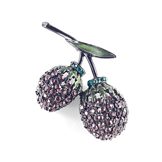 Hollycraft Rhinestone Enamel Berry Brooch Pin