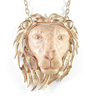 Luca Razza Molded Resin Lion Head Pendant Necklace