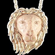 Luca Razza Molded Resin Lion Head Pendant Necklace