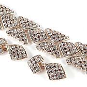 Ann Vien Wide Rhinestone Link Bracelet Pendant Earrings Demi Parure Set