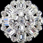 Weiss Layered Rhinestone Brooch Pin