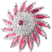 Kramer Rhinestone Art Glass Domed Pinwheel Brooch Pin