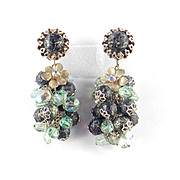 Bead Glass Rhinestone Long Cluster Dangle Earrings