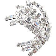 Kramer Large Rhinestone Spray Brooch Pin Rhodium Plate