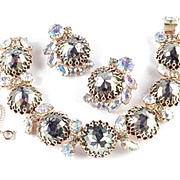 Rhinestone Rose Cut Cabochon Bracelet Earrings Demi Parure Set