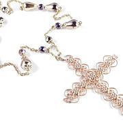 Hobe Filigree Cross Pendant Bead Necklace