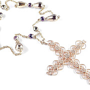 Hobe Filigree Cross Pendant Bead Necklace