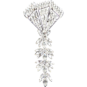 Weiss Large Rhinestone Dangle Brooch Pin
