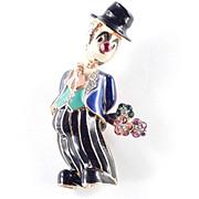 Jomaz Enamel Rhinestone Figural Clown Brooch Pin