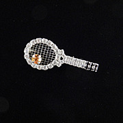Dorothy Bauer Rhinestone Sports Tennis Racket Ball Brooch Pin