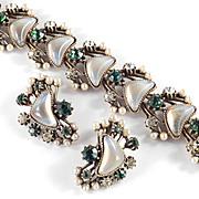 Florenza Rhinestone Faux Crescent Moonstone Pearl Bracelet Earrings Demi Parure Set
