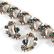 Florenza Rhinestone Faux Crescent Moonstone Pearl Bracelet Earrings Demi Parure Set