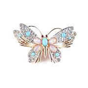 Jomaz Rhinestone Faux Turquoise / Opal Butterfly Figural Brooch Pin