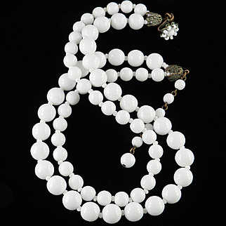 Miriam Haskell Double Stand Milk Glass Bead Necklace
