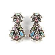 Hollycraft Rhinestone Faux Pearl Pendant Dangle Earrings