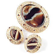 Alice Caviness Rhinestone Faux Striped Agate Art Glass Brooch Pin / Pendant Earrings Demi Parure Set