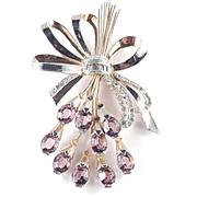 Large Rhinestone Art Glass Bow Spray Bouquet Brooch Pin