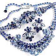 Rhinestone Necklace Bracelet Earrings Parure Set