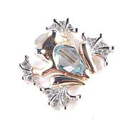 Rhinestone Art Glass Tree Frog Figural Fur Clip