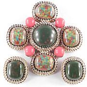 Sarah Coventry Mosaic Cabochon Brooch Pin Earrings Demi Parure Set