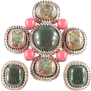 Sarah Coventry Mosaic Cabochon Brooch Pin Earrings Demi Parure Set