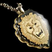 Lucite Encased Lion Pendant Necklace