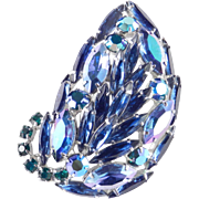 Weiss Rhinestone Leaf Brooch Pin
