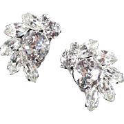 Weiss Dentelle Rhinestone Crescent Climber Earrings