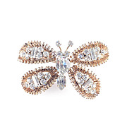 Austria Unsigned Rhinestone Butterfly Brooch Pin