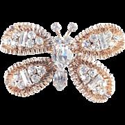 Austria Unsigned Rhinestone Butterfly Brooch Pin