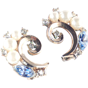 Trifari Rhinestone Faux Pearl Earrings
