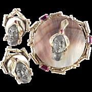 Blackamoor Figural Face Rhinestone Abalone Brooch Pin Earrings Demi Parure Set