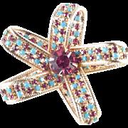 Hattie Carnegie Rhinestone Faux Turquoise Bow Brooch Pin