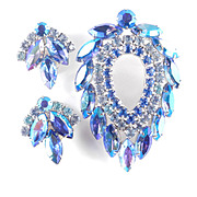 Sarah Coventry Juliana D & E Blue Lagoon Rhinestone Brooch Pin Earrings Demi Parure Set
