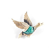 Tortolani Art Glass Rhinestone Figural Mallard Duck Bird Brooch Pin