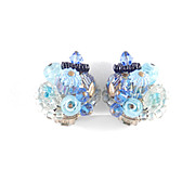 Schiaparelli Art Glass Bead Crystal Cluster Earrings