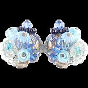 Schiaparelli Art Glass Bead Crystal Cluster Earrings