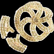 Domed Rhinestone Pinwheel Brooch Climber Earrings Demi Parure Set