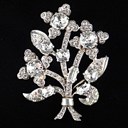 Eisenberg Original Sterling Silver Dentelle Rhinestone Brooch Pin