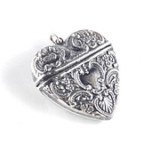 Sterling Silver Repousse Heart Pendant Locket Box