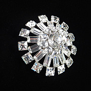 Kramer of New York Large High Domed Rhinestone Brooch Pin