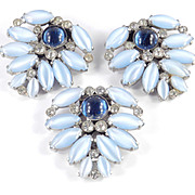 Trio - Pair Plus One - Matching Moonglow Glass Moonstone Cabochon Rhinestone Dress Clips Signed R