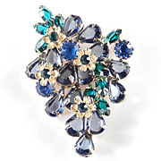 Rhinestone Art Glass Rosette Brooch Pin