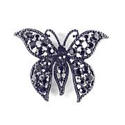 Weiss Rhinestone Enamel Butterfly Figural Brooch Pin