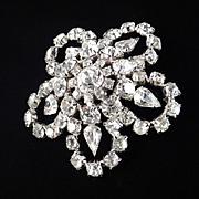 Large Domed Rhinestone Snowflake Brooch Pin