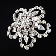 Large Domed Rhinestone Snowflake Brooch Pin