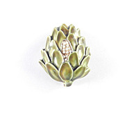 Har Enamel Artichoke Vegetable Figural Brooch Pin
