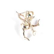 Marcel Boucher Leprechaun Elf Pixie Figural Brooch Pin Glass Cabochon Faux Pearl