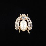 Florenza Rhinestone Faux Pearl Bug Figural Trembler Brooch pin