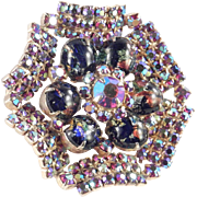 Rhinestone Ruffle Brooch Foiled Art Glass Cabochon Faux Opal